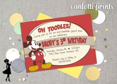 Hey, I found this really awesome Etsy listing at https://www.etsy.com/listing/173422846/mickey-mouse-birthday-invitation