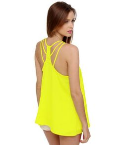 It's off to a weekend of stealing hearts in the Bandito Racerback Yellow Tank Top! This versatile woven top has an A-line cut and strappy racerback for a free-flowing fit. Ombre French Tips, Summer Outfits, Cute Outfits, Summer Clothes, Mellow Yellow, Neon Yellow, Summer Tank Tops, Racerback Tank Top, My Outfit