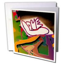 3dRose - Jos Fauxtographee Realistic - The Word LOVE On a Layered and Beveled Background of Rich Green, Purple, and Orange