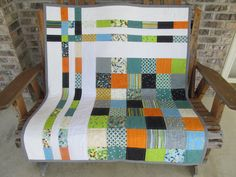 Baby Crib Quilt, Modern, Gender Neutral, Moda, Barcelona, Zen Chick, Boy's Quilt, Lap Quilt, Toddler Bedding, Orange, Blue, Teal. Black, on Etsy, $139.46 CAD