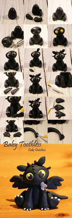 Toothless fondant tutorial Easy fondant modeling tutorial of Toothless - How to train your dragon movie by Cake Dutchess. Toothless fondant tutorial Easy fondant modeling tutorial of Toothless - How to train your dragon movie by Cake Dutchess. Crea Fimo, Fimo Clay, Polymer Clay Projects, Polymer Clay Charms, Polymer Clay Creations, Clay Crafts, Polymer Clay Dragon, Polymer Clay Disney, Polymer Clay Figures