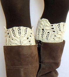 Knitting Pattern for Winter Flower Boot Cuffs - Lace boot toppers.