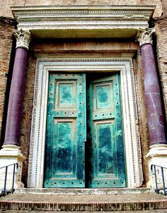This is one of the oldest doors in ancient Rome, Italy.