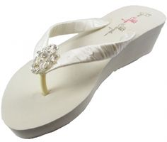 0cf582d76eae0f Bridal Flip Flops with Vintage Lace   satin straps- Choose colors! BRLA11  Bow Flip