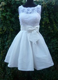 'Chloe' - taffeta & lace short wedding dress on Cutting Edge Brides.