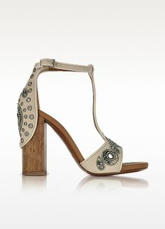 Skin Suede High Heel Sandals w/Embroidered Beads - Roberto Cavalli