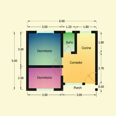 Planos de 2 Dormitorios – Constructora Sol del Plata Bungalows, Home Projects, Bar Chart, Floor Plans, Architecture, House, Ideas, Home Made Simple, Renting