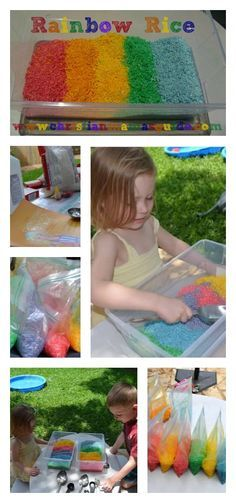 Summer activity idea: Great sensory activity for kids ages 2-10... Rainbow Rice!  My kids loved it and played for hours.
