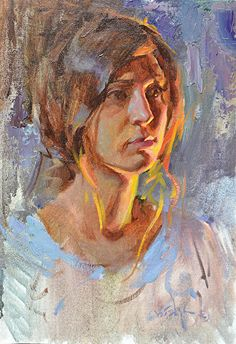Study in Hot and Cool Light by Albin Veselka Oil ~ 16 x 12