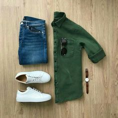 There is never enough green in shirts along with sneakers  What to wear to office | Outfit ideas for Men | Men's Streetstyle | Outfit Grids for Men | Casual wear for Men | Flatlays for Men | Men's Style Guide