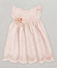 Look at this #zulilyfind! Soft Coral Crochet Floral Angel-Sleeve Dress - Infant by Truffles Ruffles #zulilyfinds
