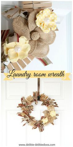 How to make a Laundry room clothes pin rag wreath. @michaelsstores #bHomeApp