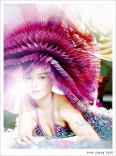Bjork, pink hat. Reminds me of cupcake wrappers.