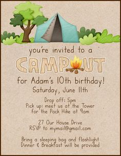 Campout Birthday Invitation