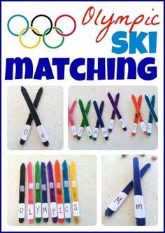 Olympics: Match colors, capital and lowercase letters, or even math facts with this fun Olympic Ski Matching activity! Olympic Games For Kids, Olympic Idea, Winter Olympic Games, Winter Games, Alphabet Activities, Literacy Activities, Activities For Kids, Preschool Literacy, Spring Activities
