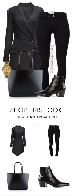 """""""Untitled #1228"""" by tamararenaye ❤ liked on Polyvore featuring Lattori, Frame Denim, Yves Saint Laurent and Versus"""