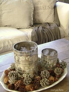 Scatter pine cones on a tray with a pretty candle or two ~ I would like to make these candles. Noel Christmas, Country Christmas, Winter Christmas, All Things Christmas, Vintage Christmas, Christmas Crafts, Christmas Decorations, Xmas, Christmas Thoughts