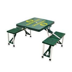 Picnic Time 2-ft 2-in Green University Of Oregon Ducks Plastic Square Collapsible Picnic Table
