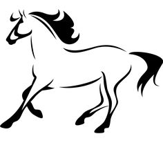 horse outline | Horse Outline Running Animals Wall ART Decal Wall Stickers Transfers ...