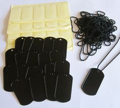 20 Pack Black Picture Dog Tag Supplies