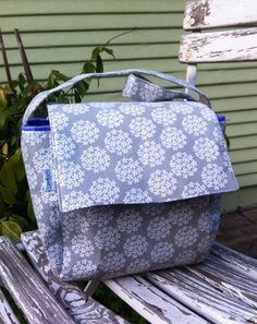 Gray and Lavender Lunch Tote Insulated Lunch Bag by MyaCdesign $28
