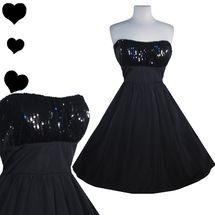 Retro Black Sequin Strapless Dress L