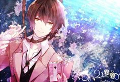 This wallpaper has tags of Osamu Dazai, Bungo Stray Dogs, Anime, Bungou Stray Dogs Wallpaper, Dog Wallpaper, Dazai Bungou Stray Dogs, Stray Dogs Anime, Anime Guys, Manga Anime, Anime Art, Cosplay, Bungou Stray Dogs Characters