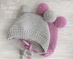 Baby bonnet pattern PDF Knitted Bonnet Pattern   Bonnet with