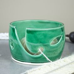 Ceramic Yarn Bowl Emerald Green, Wheel Thrown knitting bowl, flower and leaves Holes for multiple balls of yarn, knitter gift, IN STOCK