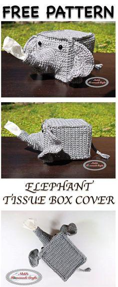 Elephant Tissue Box Cover - Free Crochet pattern By Nicki's Homemade Crafts soooo cute! Crochet Kitchen, Crochet Home, Crochet Gifts, Cute Crochet, Knit Crochet, Funny Crochet, Crotchet, Dishcloth Crochet, Crochet Throws