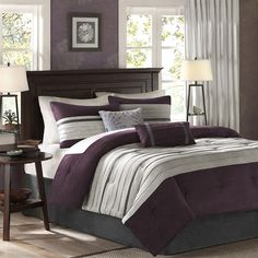 For comfort and a chic design, the Palmer 5 Piece Comforter Set is the perfect fit. Its plum comforter is made from pieced microsuede for a soft feel while the piecing details add texture and color with its grey and brown colorways. The decorative pillows add a mix of nature-inspired leaves and simple designs to combine perfectly with this collection for a simple yet dramatic look.
