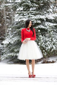 Pink Peonies looks like a winter dream in a tulle skirt and pops of red. Want this outfit!