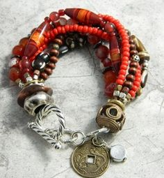 """Mozambique"" tribal style multi-strand bracelet with copper, fire polished beads, and African brass"