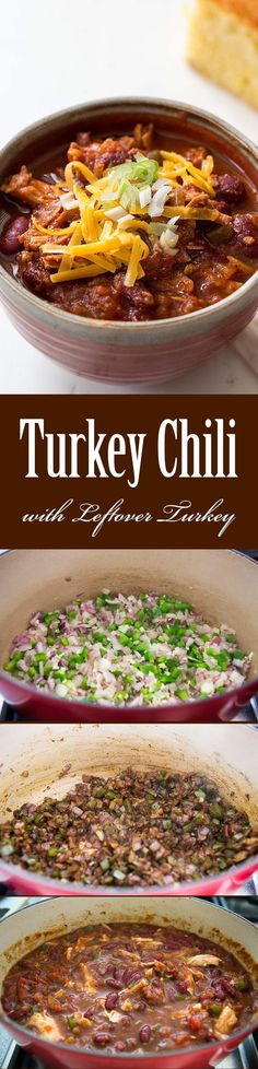Turkey Chili (with Leftover Turkey) ~ Great for turkey leftovers! This turkey chili recipe uses shredded turkey meat, kidney beans, onion, garlic, tomatoes and chili. ~ SimplyRecipes.com