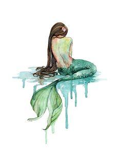 Aquarell Meerjungfrau Print Gemälde mit von TheColorfulCatStudio