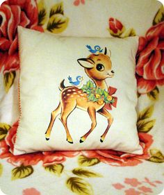 vintage deer on cushion