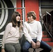 Cathy McGowan with Paul Jones of Manfred Mann presenting Ready Steady Go on set at Wembley Studios