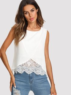 Cheap casual tanks, Buy Quality plain vest directly from China top women Suppliers: Sheinside Lace Insert Wrap Front Top Women White Round Neck Wrap Plain Vest 2018 Summer Regular Fit Sleeveless Casual Tank Umgestaltete Shirts, Tank Top Damen, Wrap Front Top, Shirt Bluse, Lace Outfit, Lace Insert, Zara Tops, Blouse Designs, Blouses For Women