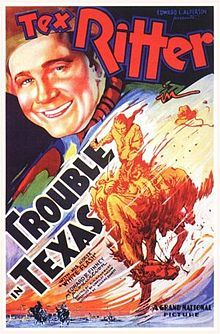 Trouble in Texas is a 1937 American film directed by Robert N. Bradbury.  Cast :    Tex Ritter as Tex Masters  White Flash as Tex's horse  Rita Hayworth as Carmen Serano  Yakima Canutt as Henchman Squint Palmer  Charles King as Henchman Pinto  Horace Murphy as Sidekick Lucky  Earl Dwire as Barker  Tex Cooper as Rodeo Announcer  Hal Price as Federal Officer  Glenn Strange as Middleton Sheriff  Jack C. Smith as Banker Bix  The Texas Tornadoes as Musicians