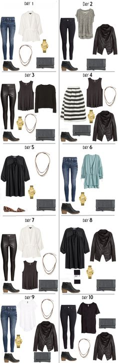 10 Days in Stockholm Night Outifts Options from my Stockholm, Sweden packing list on the blog. #packinglist #outfits #packinglight #travellight