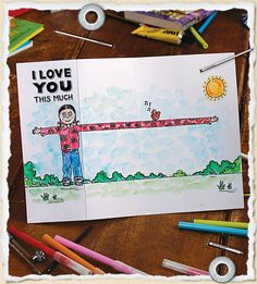 Heartwarming Mothers Day cards: The I love you 'this much' card (showing super longarms) Youth Group Crafts, February Holidays, Learn Art, Grandparent Gifts, Fathers Day Cards, Mothers Day Crafts, School Gifts, Feeling Special, Love Gifts