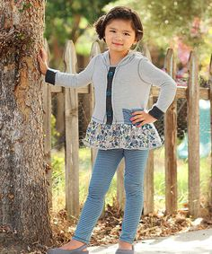 Heather Gray Hooded Tunic & Stripe Leggings - Toddler & Girls by Freckles + Kitty #zulily #zulilyfinds