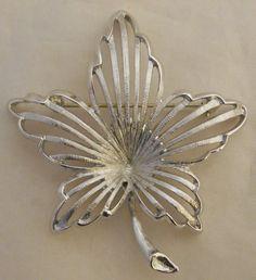 Vintage Monet Silvertone Maple Leaf Brooch Lapel Pin   $12.99
