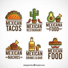 coleção logos comida mexicana com esboço Vetor grátis