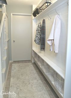 Hallway mudroom ideas lovely narrow hallway mudroom using ly 5 5 inches of depth hallwayideas Front Hall Closet, Hallway Closet, Long Hallway, Hallway Storage, Ikea Hallway, Dark Hallway, Hallway Rug, Closet Bedroom, Small Entryways