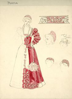 The Merchant of Venice  His Majesty's Theatre, 1908  Costumes designed by Percy Macquoid   Percy Macquoid (1852-1925)  Costume design for The Merchant of Venice, 1908  Alexandra Carlisle as Portia