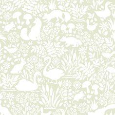 Vita djur. Djur och växter i ett lugnt tvåfärgat mönster Finns i tre olika färgställningar. Atea Fauna, 149 kr, Rusta.