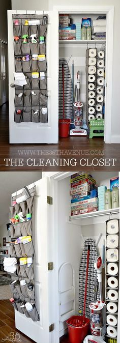 Best Organizing Ideas for the New Year - DIY Cleaning Closet Organization - Reso. - - Best Organizing Ideas for the New Year - DIY Cleaning Closet Organization - Resolutions for Getting Organized - DIY Organizing Projects for Home, Bedr. Organisation Hacks, Diy Organization, Organizing Ideas, Hall Closet Organization, Organization Ideas For The Home, Pantry Ideas, Organizing Small Homes, Roommate Organization, Diy Shoe Organizer