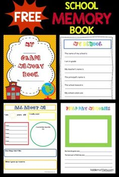 Free school memory book #memorybook #scrapbook