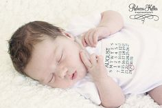 Birthday Calendar Birth Announcement Onesie- circle the day your baby was born on. So cute! $14